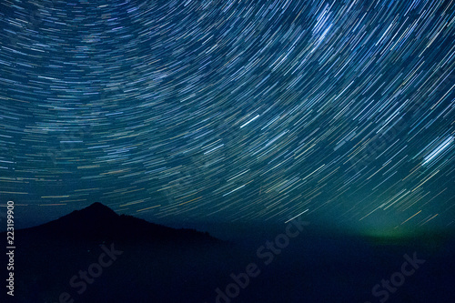 starry sky with mountains in Iceland on long endurance. TimeLapse Concept