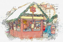 Illustration. Old Town Square In Prague On Christmas Day. Christmas Market In The Main Square.