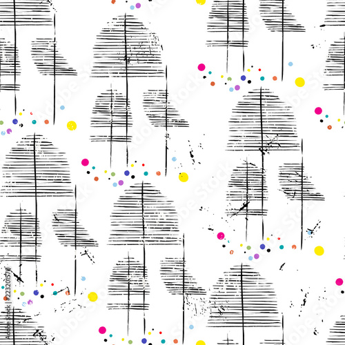 seamless fabric pattern for winter season abstract trees, fictional vector art.