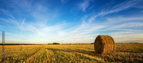 Fotografía  осенний пейзаж в поле с сеном вечером, Россия, Урал, сентябрь