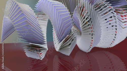 Photo  3d rendering poker cards falling