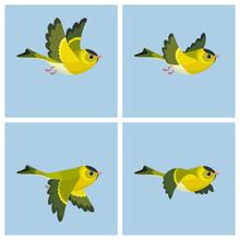 Flying European Siskin (male) Animation Sprite Sheet