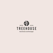Eco House Home Treehouse Mortgage Real Estate Logo Vintage Retro Hipster Vector