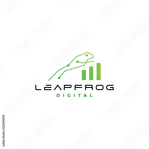 Poster Blanc leap frog tech digital chart statistics logo vector icon design inspirations