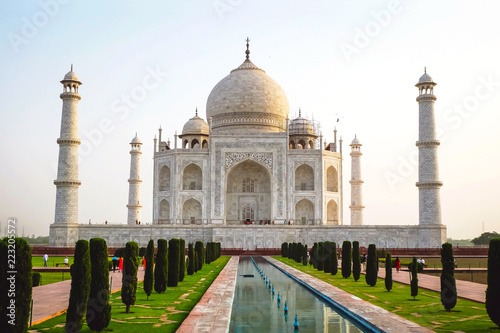 Fotografie, Obraz  The morning view of Taj Mahal with reflection in the water of the pool in Agra, India