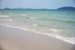 Tropical sea landscape with white sand and blue sea. Tropical seaside landscape with white sand beach