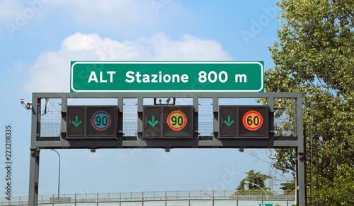 Big road signs on the highway The text means STOP Station at 800 Canvas Print