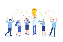 Team Success Vector Illustration. Business People Celebrating Victory. Vector Illustration Of A Flat Design.