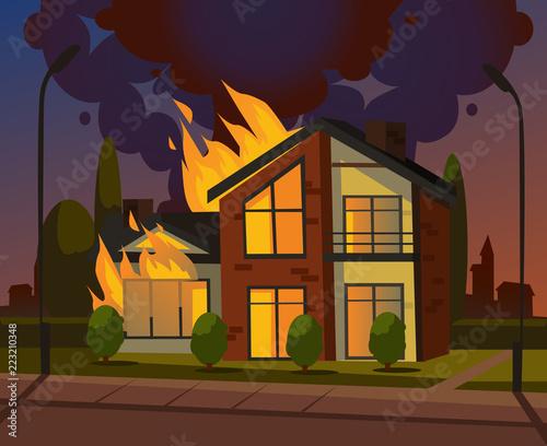 Burning House Fire Vector Design Graphic Flat Cartoon Illustration