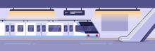 Modern Train On Empty Subway Station. Railway Metro Station Indoor Interior, Vector Illustration.
