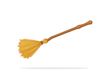 Witch Broom Besom Vector Illustration Isolated On White