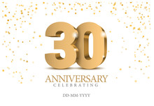 Anniversary 30. Gold 3d Numbers.