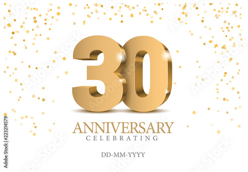 Tela Anniversary 30. gold 3d numbers.