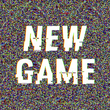 New Game Glitch Text. Anaglyph 3D Effect. Technological Retro Background. Vector Illustration. Creative Web Template. Flyer, Poster Layout. Computer Program, TV Channel Screen, Retro Arcade.