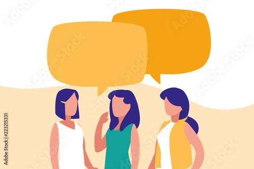 Obraz group of women talking characters - fototapety do salonu