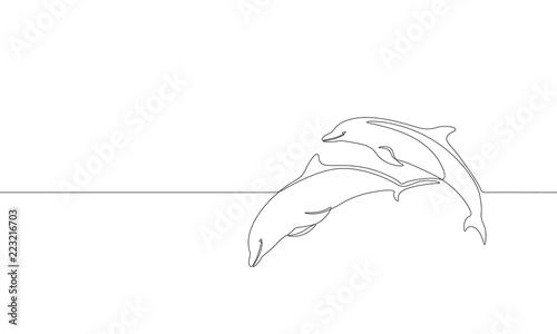 Fototapeta premium Pojedyncza linia ciągła sylwetka morskiego delfina pływać skok. Natura ocean ekologia koncepcja środowiska życia. Duży projekt fali morskiej jeden szkic szkic, rysunek wektor ilustracja