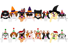 Cute Pups Border Set, With Halloween Costumes And With Christmas Costumes