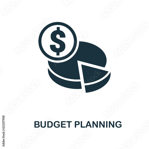 Fototapeta Budget Planning icon. Monochrome style design from smm icon collection. UI. Pixel perfect simple pictogram budget planning icon. Web design, apps, software, print usage. obraz