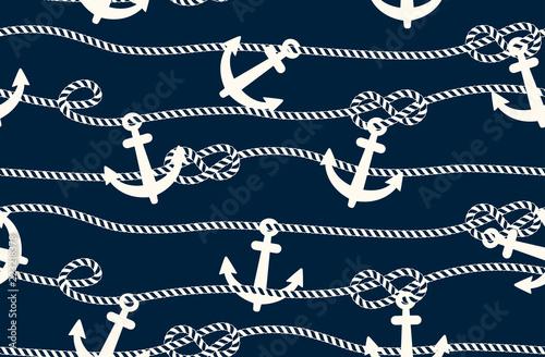 Obraz na płótnie seamless marine pattern, rope weave