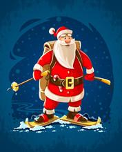 Christmas Santa Claus. Merry Cartoon Character On Skis Go