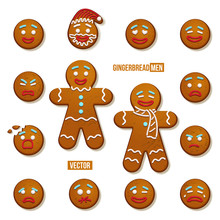 Set Of Gingerbread Men And Gingerbread Man Faces. Vector Christmas And New Year Holiday Elements.