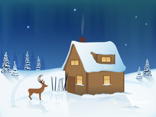 Winter Mountain Night Landscape. Wooden Cottage And Skiing In The Snow. Curious Deer