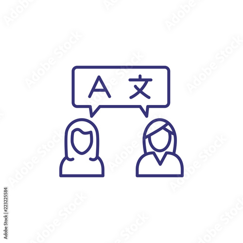 Conversation line icon  Women speaking English and Chinese