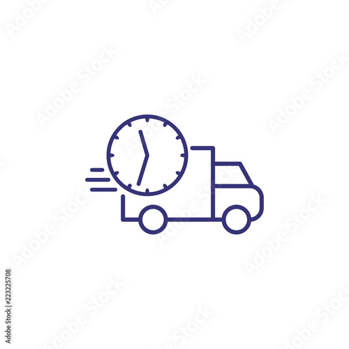 Delivery time line icon  Fast truck and clock in motion
