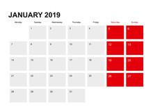 2019 January Planner Calendar ...