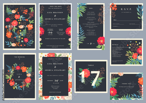 Photo  Wedding set with floral background. Colorful invitation, cards,