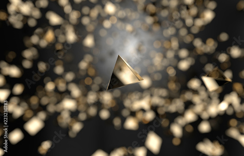 Fotografie, Obraz  Abstract Gold triangle shape falling background, 3d rendering