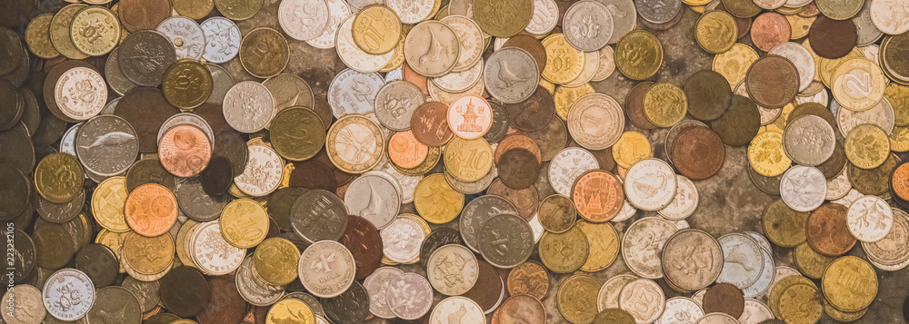 Fototapety, obrazy: Lots of different coins. Close-up view.