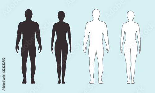 Obraz Male and female silhouette on blue background, vector. - fototapety do salonu