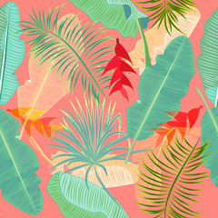 Seamless pattern of exotic jungle plant tropical palm leaves, floral vector.