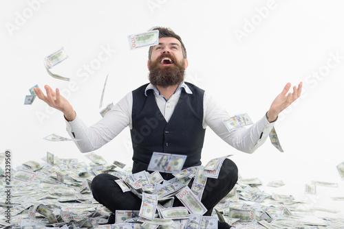 Businessman throwing dollars Fotobehang