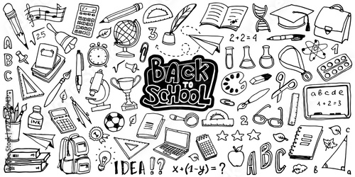 Tableau sur Toile Back to School with hand drawn school supplies - big set