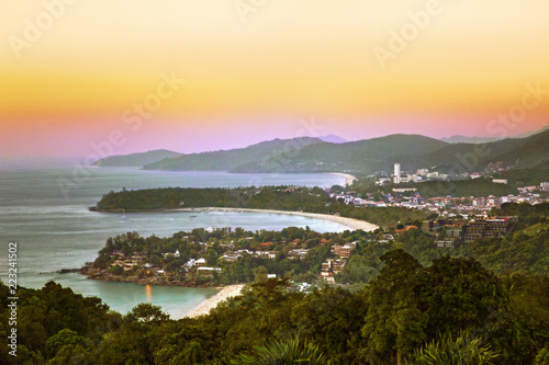 Staande foto Asia land Kata, Karon and Patong beach at sunset, Phuket, Thailand