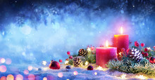 Christmas Advent - Red Candles With Ornament On Snow