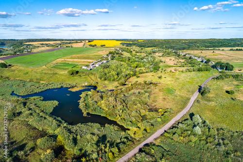 Poster Asia land Aerial landscape of Russian Chernozemye. Kotlevo village, Kursk region