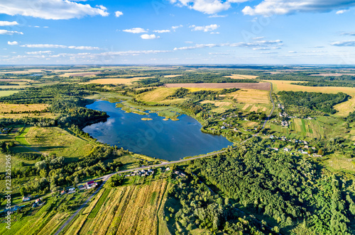 Poster Asia land Aerial landscape of Russian Chernozemye. Glazovo village, Kursk region