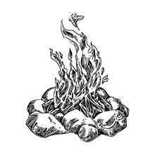 Large Campfire Fenced With Stones. Sketch. Engraving Style. Vector Illustration.
