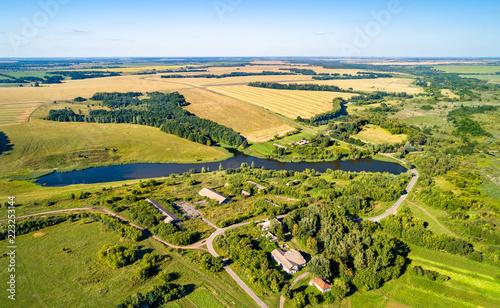 Poster Asia land Aerial landscape of Russian Chernozemye. Shuklino village, Kursk region