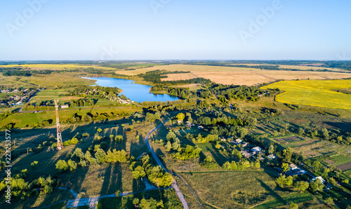 Poster Asia land Aerial landscape of Russian Chernozemye. Nikolayevka village, Kursk region