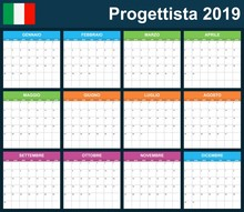 Italian Planner Blank For 2019 Scheduler, Agenda Or Diary Template. Week Starts On Monday