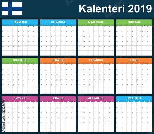 Finnish Planner Blank For 2019 Scheduler Agenda Or Diary Template