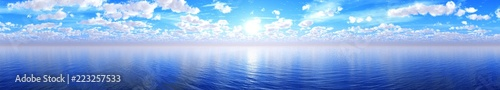 Spoed Foto op Canvas Blauw Panorama of sea sunset, sunrise. Baner.