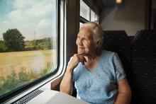 Elderly Woman In The Train