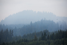 Smoke Covered Mountains From The Terwilliger Fire In The Willamette National Forest.