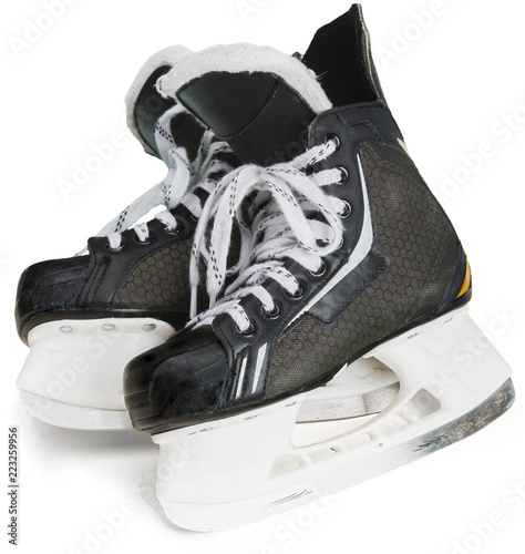 Fotografía  Pair of Black Ice Hockey Skates, Isolated on Transparent