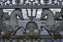 The Annunciation Bridge In St. Petersburg, A Sea Motif With Magical Sea Horses And Tridents. Russia.